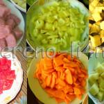 Мясо и овощи нарезаем на куски