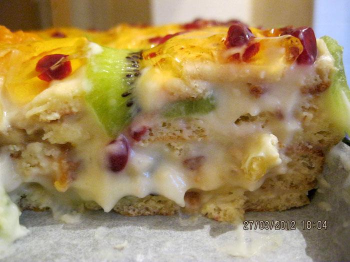 Торт тропиканка с заварным кремом и фруктами рецепт